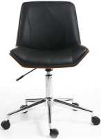 Shankar Black Reed Office Chair with Chrome Base