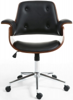 Shankar Kato Walnut Leather Match Black Office Chair