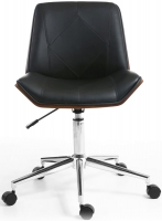 Shankar Reed Walnut Leather Match Black Office Chair