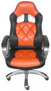 Shankar Memphis Black Leather Match Office Chair - Orange