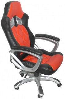 Shankar Memphis Black Leather Match Office Chair - Red
