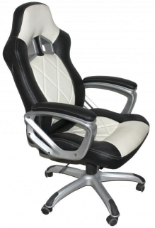 Shankar Memphis Black Leather Match Office Chair - White