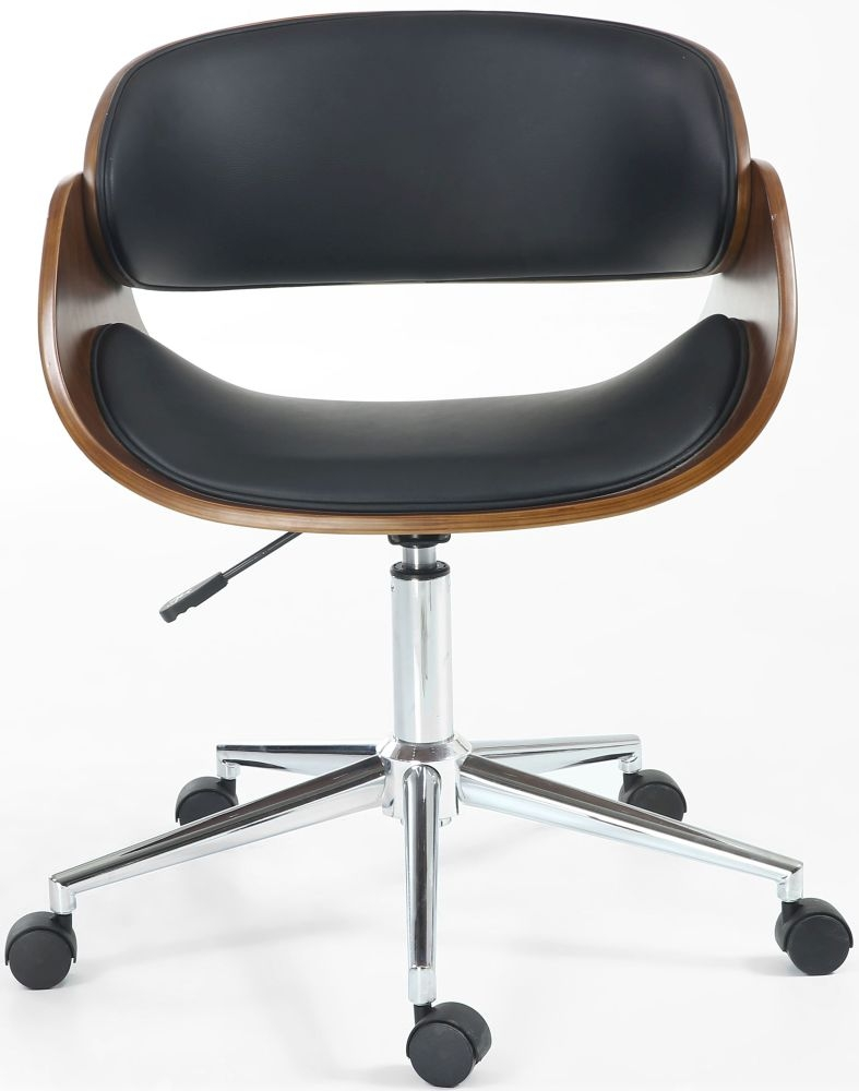 Shankar Okka Walnut Leather Match Black Office Chair
