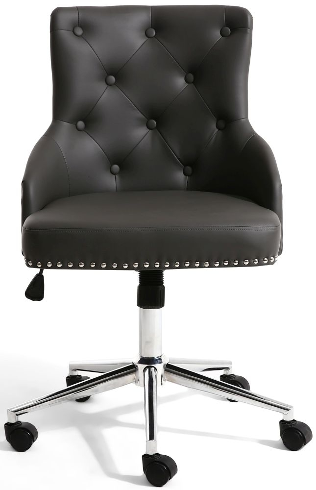 Shankar Rocco Graphite Grey Leather Match Office Chair
