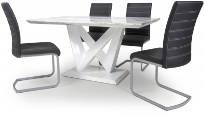Shankar Saturn Grey and White High Gloss Marble Effect Dining Table with 4 Callisto Black Dining Chairs