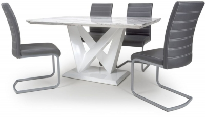 Shankar Saturn Grey and White High Gloss Marble Effect Dining Table with 4 Callisto Grey Dining Chairs