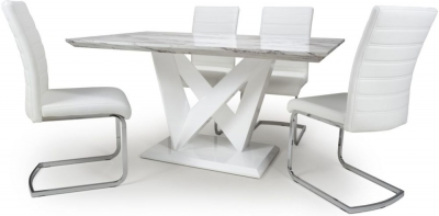 Shankar Saturn Grey and White High Gloss Marble Effect Dining Table with 4 Callisto White Dining Chairs