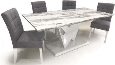 Shankar Saturn Grey and White High Gloss Marble Effect Dining Table with 4 Moseley Silver Grey Dining Chairs
