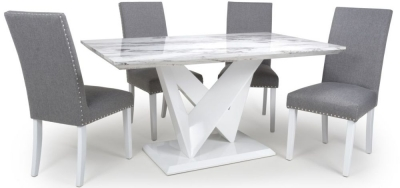 Shankar Saturn Grey and White High Gloss Marble Effect Dining Table with 4 Randall Silver Grey Dining Chairs