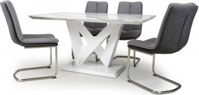 Shankar Saturn Grey and White High Gloss Marble Effect Dining Table with 4 Triton Light Grey Dining Chairs