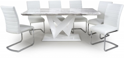 Shankar Saturn Grey and White High Gloss Marble Effect Large Dining Table with 6 Callisto White Dining Chairs