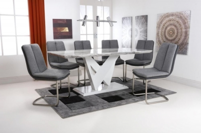 Shankar Saturn Grey and White High Gloss Marble Effect Large Dining Table with 6 Triton Light Grey Dining Chairs