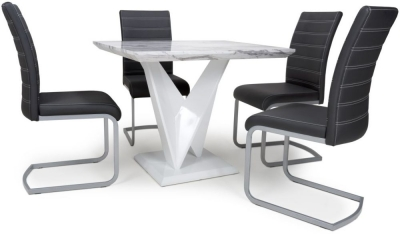 Shankar Saturn Grey and White High Gloss Marble Effect Square Dining Table with 4 Callisto Black Dining Chairs