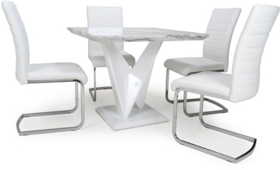 Shankar Saturn Grey and White High Gloss Marble Effect Square Dining Table with 4 Callisto White Dining Chairs