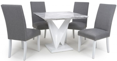 Shankar Saturn Grey and White High Gloss Marble Effect Square Dining Table with 4 Randall Silver Grey in Dining Chairs