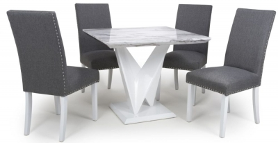 Shankar Saturn Grey and White High Gloss Marble Effect Square Dining Table with 4 Randall Steel Grey Dining Chairs