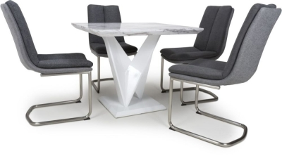 Shankar Saturn Grey and White High Gloss Marble Effect Square Dining Table with 4 Triton Dark Grey Dining Chairs
