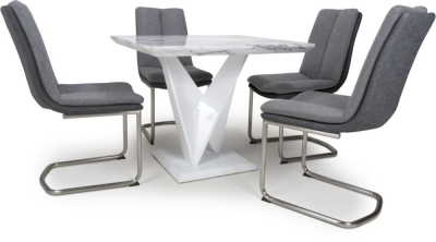 Shankar Saturn Grey and White High Gloss Marble Effect Square Dining Table with 4 Triton Light Grey Dining Chairs