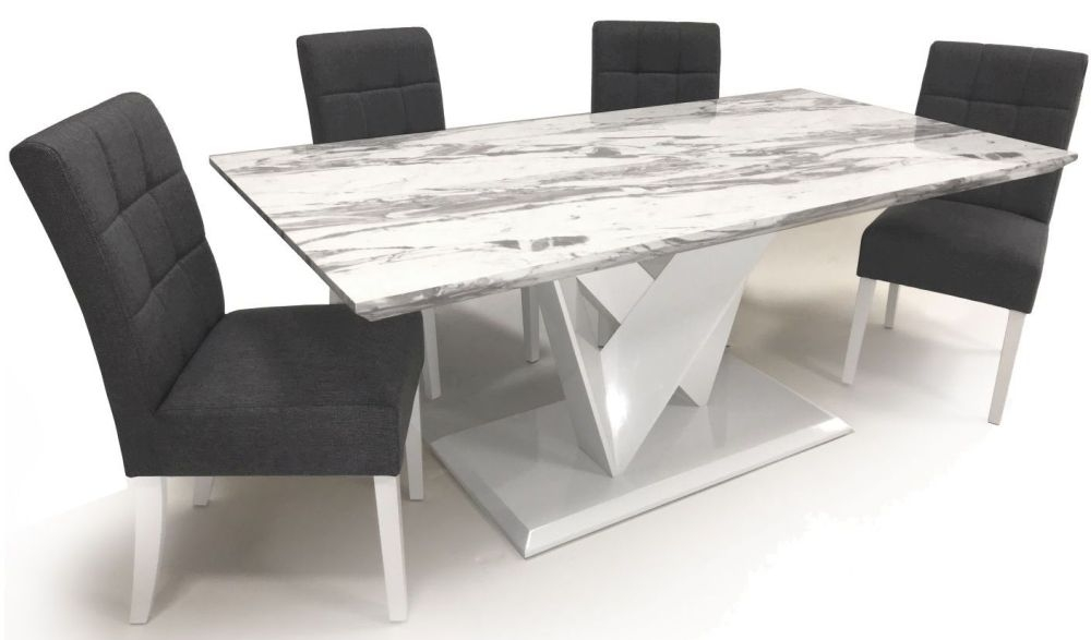 Shankar Saturn Grey and White High Gloss Marble Effect Dining Table with 4 Moseley Steel Grey Dining Chairs
