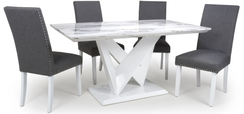 Shankar Saturn Grey and White High Gloss Marble Effect Dining Table with 4 Randall Steel Grey Dining Chairs