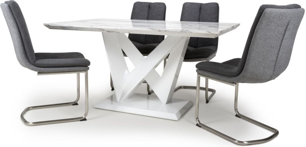 Shankar Saturn Grey and White High Gloss Marble Effect Dining Table with 4 Triton Dark Grey Dining Chairs
