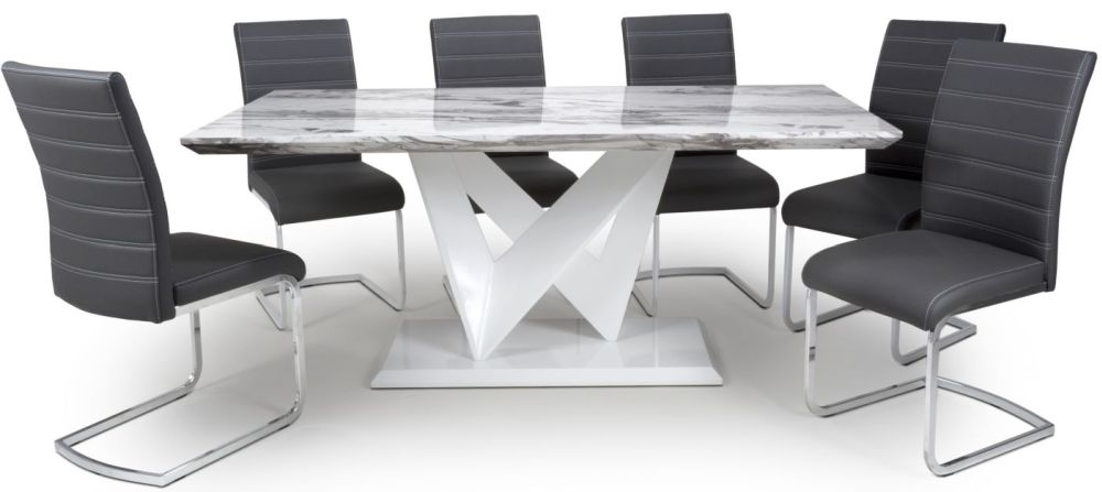 Shankar Saturn Grey and White High Gloss Marble Effect Large Dining Table with 6 Callisto Black Dining Chairs