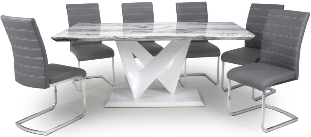 Shankar Saturn Grey and White High Gloss Marble Effect Large Dining Table with 6 Callisto Grey Dining Chairs
