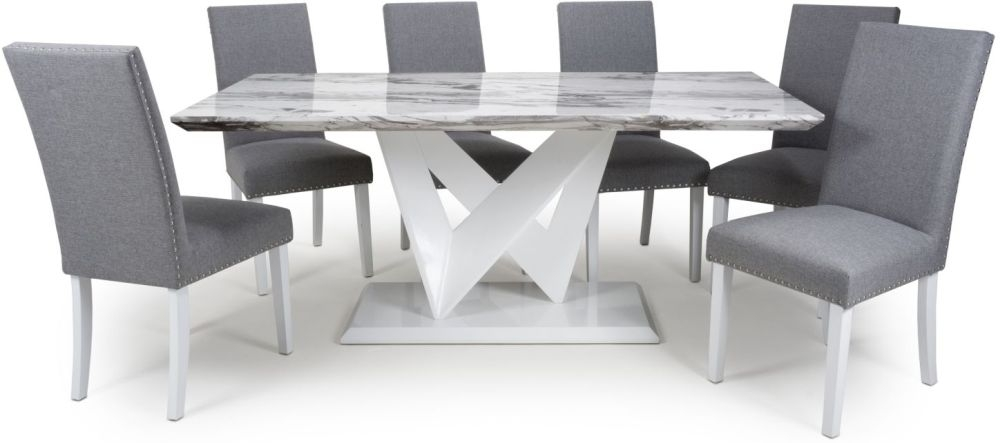 Shankar Saturn Grey and White High Gloss Marble Effect Large Dining Table with 6 Randall Silver Grey Dining Chairs