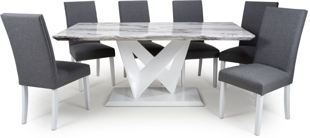 Shankar Saturn Grey and White High Gloss Marble Effect Large Dining Table with 6 Randall Steel Grey Dining Chairs