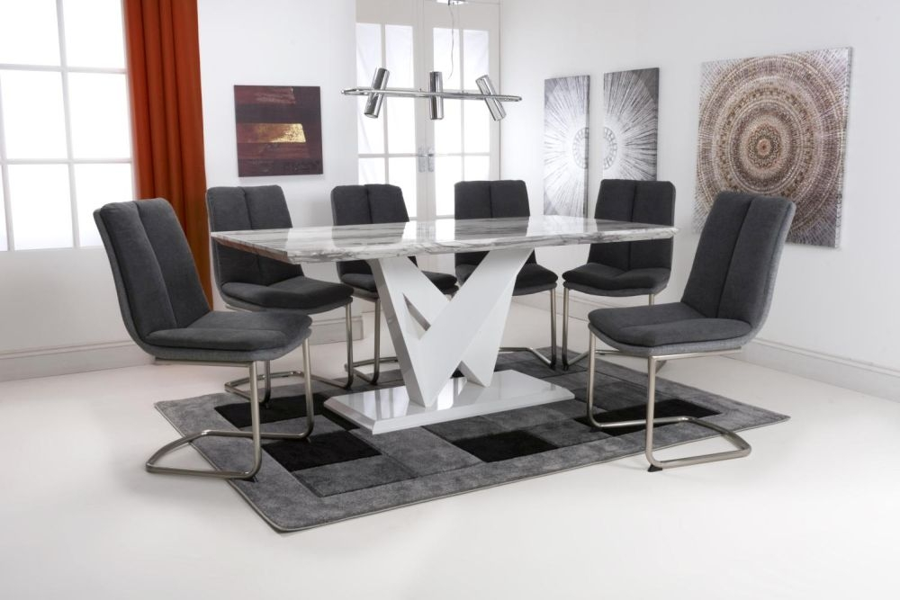 Shankar Saturn Grey and White High Gloss Marble Effect Large Dining Table with 6 Triton Dark Grey Dining Chairs