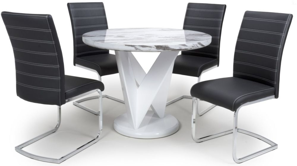 Shankar Saturn Grey and White High Gloss Marble Effect Round Dining Table with 4 Callisto Black Dining Chairs