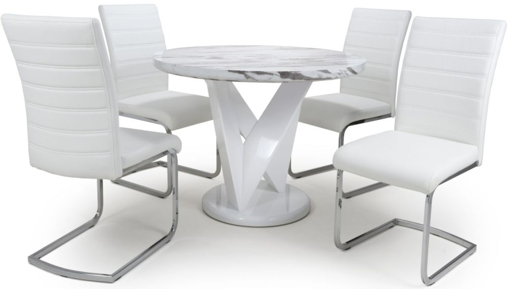 Shankar Saturn Grey and White High Gloss Marble Effect Round Dining Table with 4 Callisto White Dining Chairs