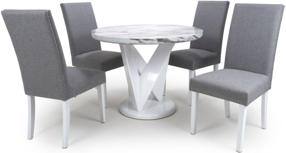 Shankar Saturn Grey and White High Gloss Marble Effect Round Dining Table with 4 Randall Silver Grey Dining Chairs