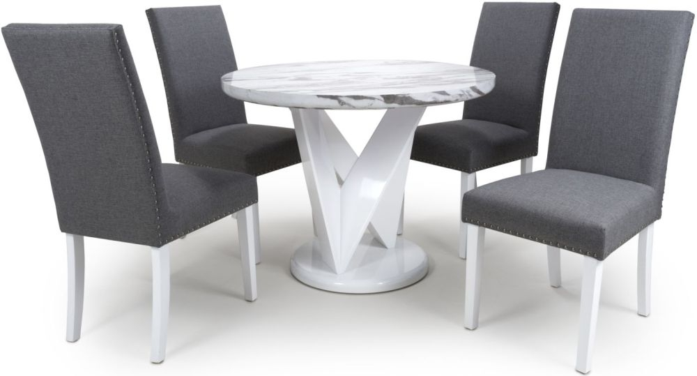 Shankar Saturn Grey and White High Gloss Marble Effect Round Dining Table with 4 Randall Steel Grey Dining Chairs