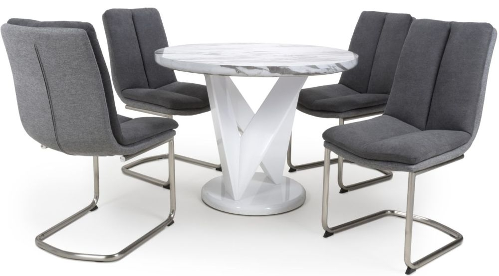 Shankar Saturn Grey and White High Gloss Marble Effect Round Dining Table with 4 Triton Dark Grey Dining Chairs