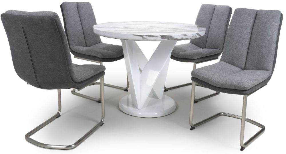 Shankar Saturn Grey and White High Gloss Marble Effect Round Dining Table with 4 Triton Light Grey Dining Chairs