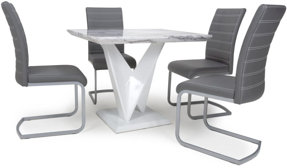 Shankar Saturn Grey and White High Gloss Marble Effect Square Dining Table with 4 Callisto Grey Dining Chairs