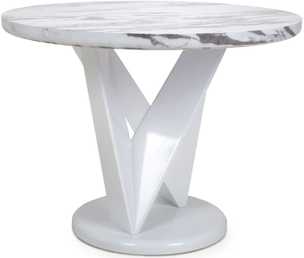 Shankar Saturn Grey and White High Gloss Marble Effect Round Dining Table