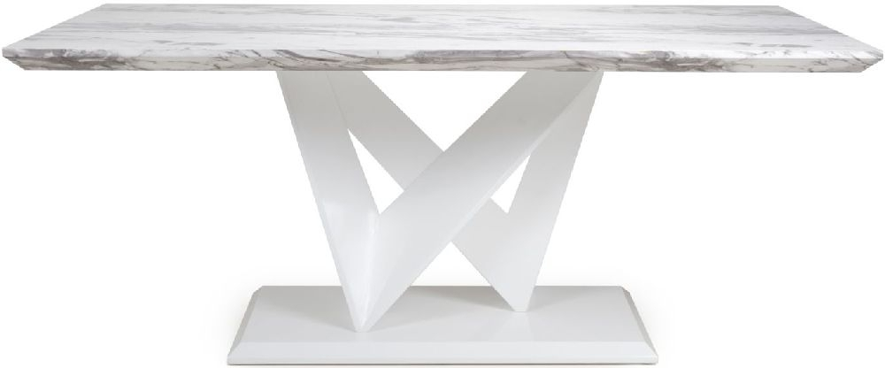 Shankar Saturn Grey and White High Gloss Marble Effect Large Dining Table