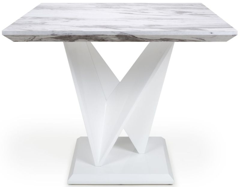 Shankar Saturn Grey and White High Gloss Marble Effect Square Dining Table