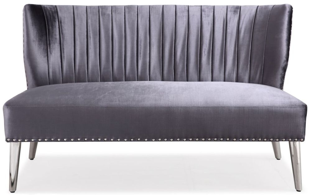 Shankar Charcoal Silken Fabric Panel Love Seat Sofa