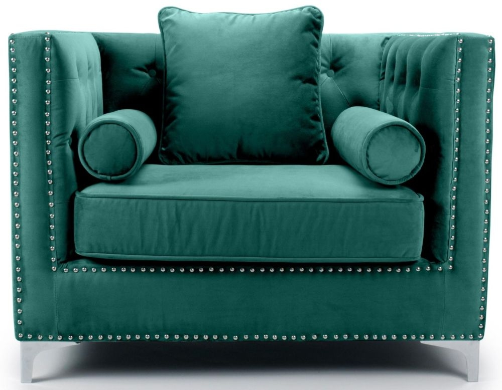 Shankar Dorchester Green Brushed Velvet Tufted Studded Armchair