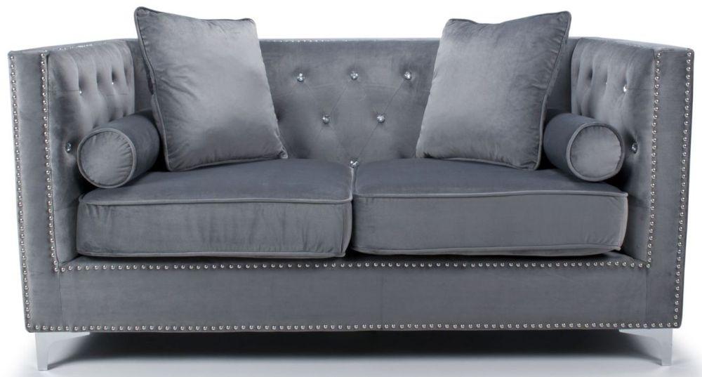 Shankar Dorchester Grey Brushed Velvet Studded Diamante 2 Seater Sofa