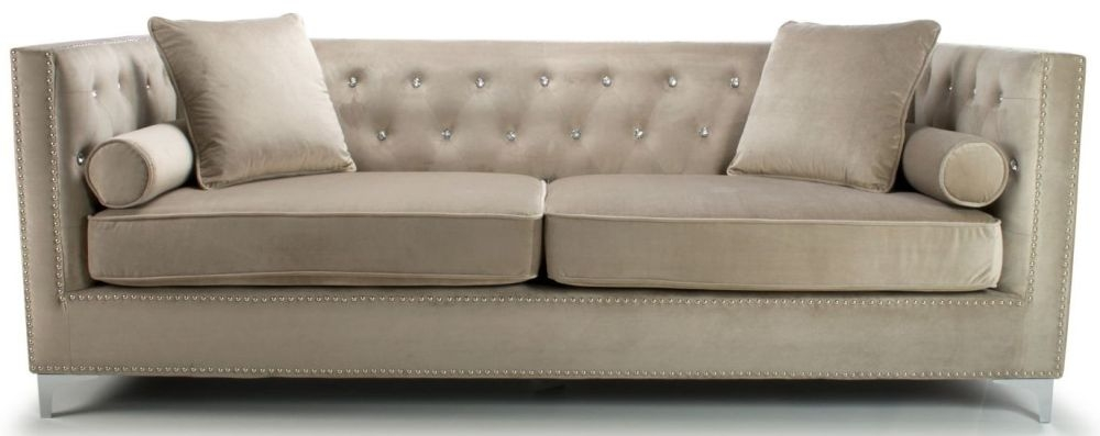 Shankar Dorchester Mink Brushed Velvet Tufted Studded 4 Seater Sofa