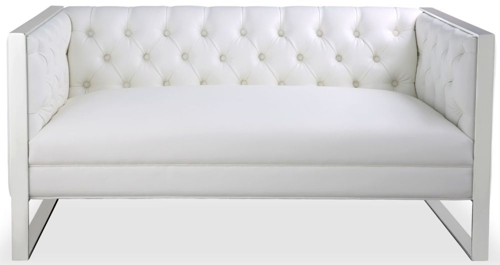 Shankar Empire Oyster White Leather Match Square Edge Tufted Sofa