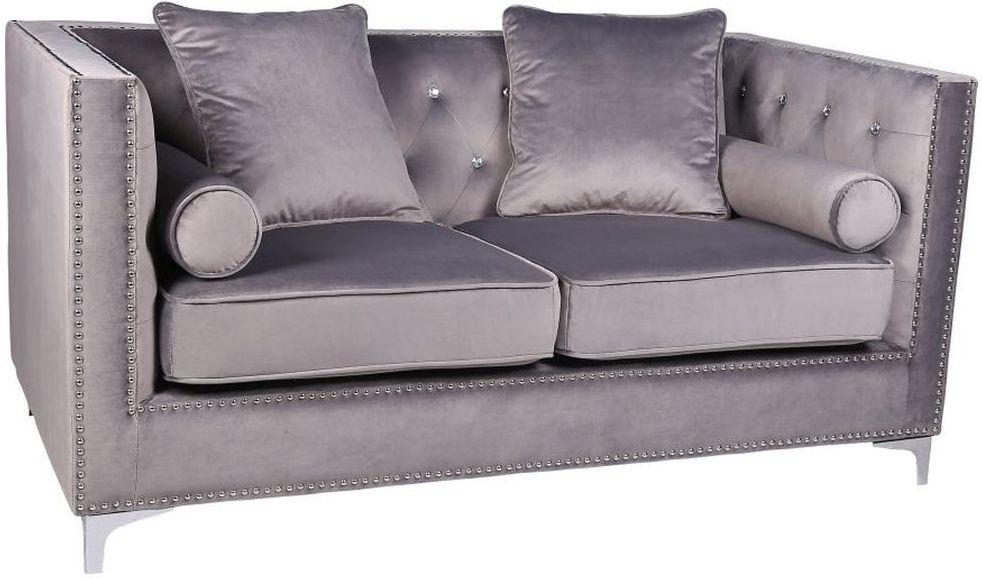 Shankar Grey Brushed Velvet Diamante Button 2 Seater Sofa