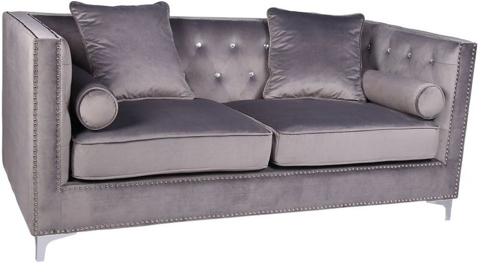 Shankar Grey Brushed Velvet Diamante Button 3 Seater Sofa
