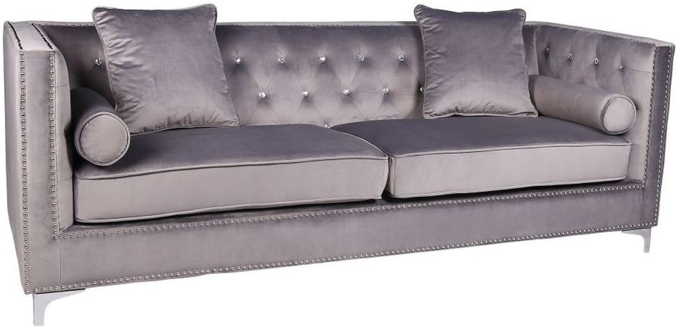 Shankar Grey Brushed Velvet Diamante Button 4 Seater Sofa