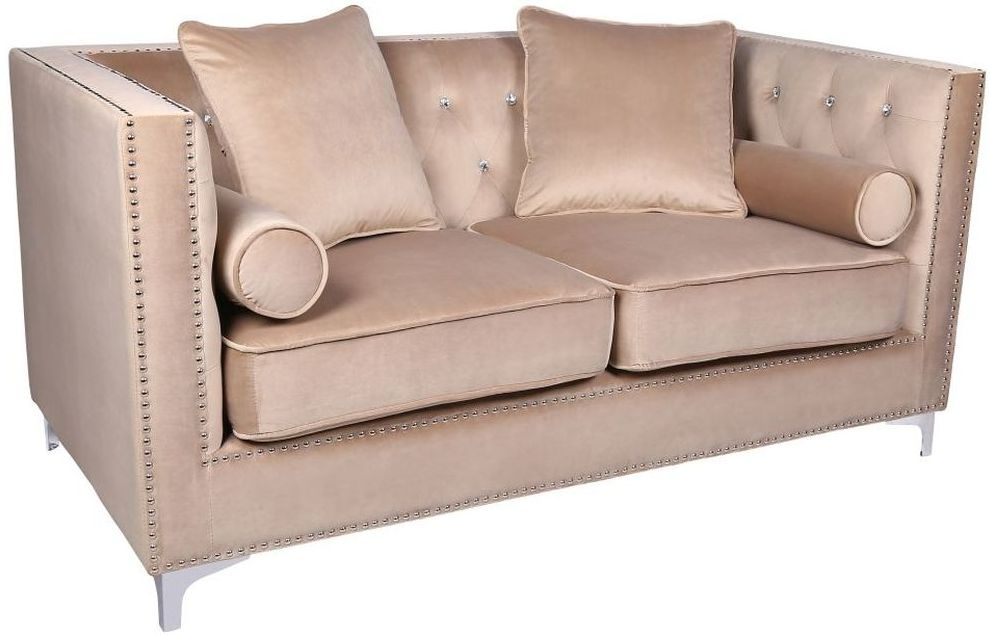 Shankar Mink Brushed Velvet Diamante Button 2 Seater Sofa