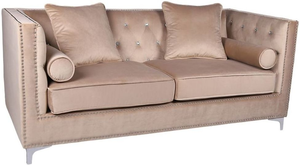 Shankar Mink Brushed Velvet Diamante Button 3 Seater Sofa